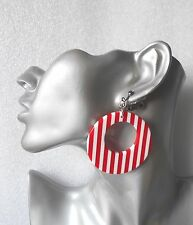 Fab 60s inspired Red & White Striped Hoop Earrings/Necklace - Clip-on & Pierced