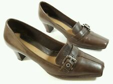 Clarks womens brown leather mid heel shoes uk 5 super condition