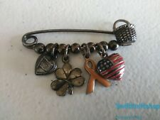 Vintage Sterling Silver Safety Pin Charms Breast Cancer USA Brooch