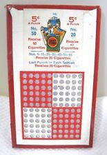 Antique 5 Cent Punch Board Lucky Strike Cigarette Gambling Trade Stimulators