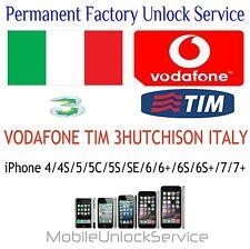 TIM VODAFONE 3 ITALY IPHONE 4/4S/5/5C/5S/6/6+/6S/6S+/SE/7/7+ UNLOCK SERVICE