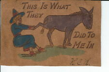 AU-044 - This Is What They Did To Me In Vintage Leather Postcard 1900's