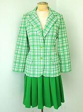 Vtg 70s Mod Butte Green Plaid Poly Knit 2-Pc Drop Waist Skirt Jacket Suit S/M