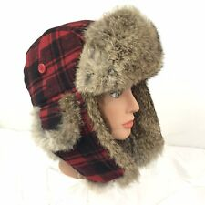 FRR Canada Rabbit Fur Russian Style Trapper Hat Sz Large Red Plaid