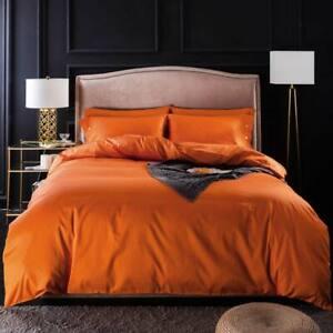 Orange Egyptian Cotton Linens Twin Queen King Size Bedding Set Duvet Cover 2020
