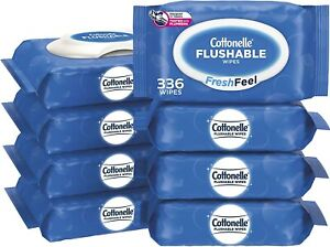 Cottonelle FreshFeel Flushable Wet Wipes for Adults and Kids, 8 Flip-Top Packs,