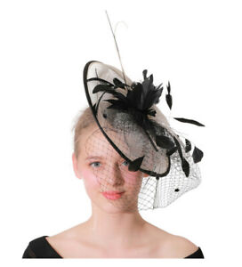 Elegant Tulle Feather Women's Wedding Party Hat Veil Prom Evening Formal Cap New