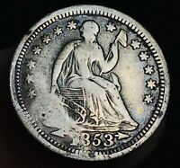 1853 Seated Liberty Half Dime 5C Arrows High Grade Detail US Silver Coin CC5022