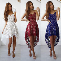 Hot Women's Lace Crochet Sleeveless Gown Evening Cocktail Party Short Mini Dress