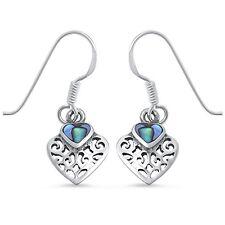 Abalone Shell Heart .925 Sterling Silver Earring