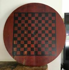 Antique Primitive Checkerboard Table Top Game Board