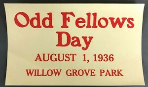1936 Odd Fellows Day Willow Grove Amusement Park PA Decal Advertisement Label