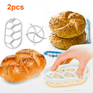 2PCS Dough Press Mold Set Baking Bread Rolls Mold Plastic Pastry Cutters