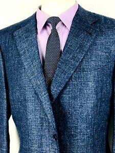 46L Canali 1934 Mens 2 Bttn Linen Wool Blazer Sport Coat Dk Denim Blue Italy 56L