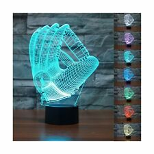 Threetoo 3D Baseball Gloves Visual Night Light Acrylic 3D LED USB 7 Color Cha...
