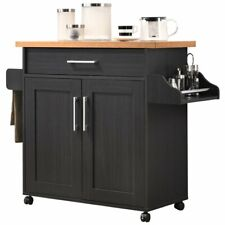 Pemberly Row Kitchen Island with Spice Rack in Black Beech