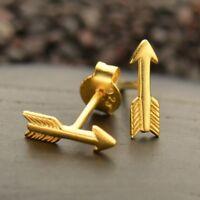 Tiny 24K Gold Vermeil Boho Arrow Stud Post Earrings - Mom Wife Girl Gift