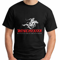 New Winchester Rifle and Shotguns Firearm Logo Men's Black T-Shirt Size S-5XL