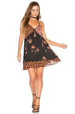 NEW NWT Free People ALL MIXED UP Black Combo Bohemian Slip Mini Dress Medium M