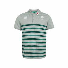 Ireland Rugby Canterbury Men's Cotton Jersey Stripe Polo Shirt - Grey - New