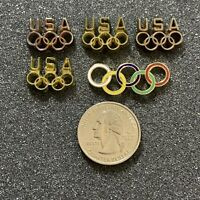 Lot of 5 Team USA Olympic Rings Pins Pinbacks #39006