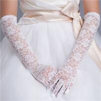 5White Ivory Lace Bridal Full Gloves Long Elegant Wedding Party Prom Glove New