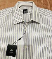 IKE BEHAR- NEW YORK 100% Cotton Dress Shirt Size 16 - 34/35 Sleeve