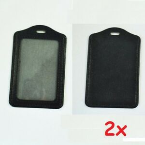 2x Vertical Leather Business ID Badge Card Holder For Lanyard Neck Strap Band