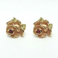 New 14K Two Tone Rose & Yellow Gold 3D Flower Natural Ruby Earrings