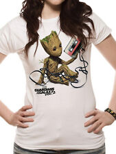 Guardians Of The Galaxy Vol 2 Womens Fitted T-Shirt Top Groot And Tape XL