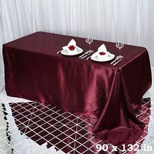 "1 pc Burgundy 90x132"" RECTANGLE Satin TABLECLOTH Wedding Party Banquet Linens"