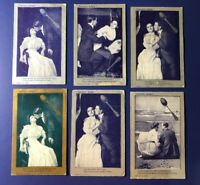 6 Spooning Romance Greeting Antique Postcards 1900s. Collector Items. Nice