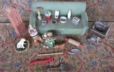 Vintage Miniature Dollhouse Furniture,Sink Accessory Lot w/2 Children Dolls
