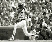 MLB Chicago Cubs Andre Dawson at Bat Game Action Black & White 8 X 10 Photo