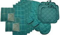 Kitchen Accessory Set Towel Dish Cloth Scrubbie Pot Holder Oven Mitt Teal NEW