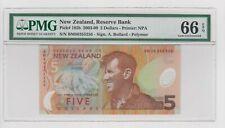 New Zealand 5 Dollars 2003 - 09 P185b  Sign. A. Bollard PMG 66