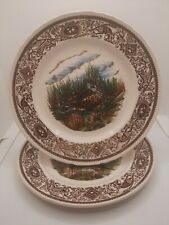 More details for mason's ironstone - game birds series - pair of 2 the lapwing 19.5cm plates