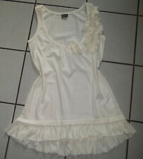 NEU Tunikashirt Gr. XS S 32 34 36 Creme Weiß 3D-Blüten Shirt Untershirt Rüschen