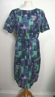 WHITE STUFF Size 12 BLUE,PINK,GREEN Cotton LINED Short Sleeve BELTED DRESS