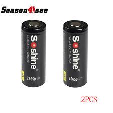 2PCS Soshine Li-ion 26650 Protected Battery: 3.7V 5500mAh Black
