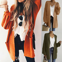 Fashion Women Loose Long Sleeve Solid Pocket Cardigan Tops Sweater Knitted Coat