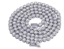 Da Uomo 10K Oro Bianco Tennis 1 Riga Fanook Girocollo Diamante Catenina 3.5mm