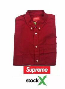 Supreme Oxford Red Long  Sleeve Button Down Men's Size (M)Shirt Stock X Verified