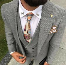 Designer Business Gris Boucle Cintré Costume pour Hommes Veston Veste de