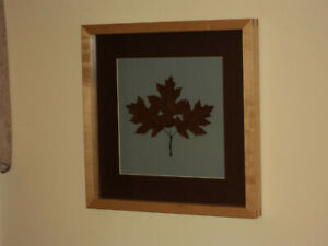 Framed Autumnal Botancial - Northern Pin Oak Tree Leaves with Sugar Maple Frame