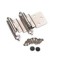 25 Pair 50 Pcs Self Closing Cabinet 3/8 Offset Inset Hinges Satin Nickel 62726
