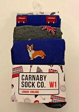 Carnaby Sock Co mens 3 pair crew socks shoe 8-12 London Corgi Union Jack Bus