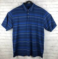 Nike Golf Fit Dry Mens Navy Striped Polo Shirt Size XL