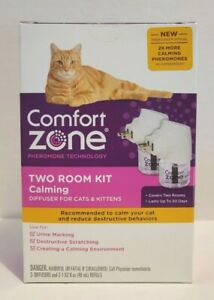COMFORT ZONE Two Room Kit Calming 2 Diffusers and 2 Bottles for Cats & Kittens