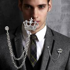 New Rhinestone Crystal Wedding Groom Bouquet Silver Imperial Crown Brooch Pin
